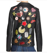 Sunset + Spring faux leather moto jacket patches medium