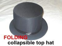 Professional Folding Collapsible Magician Magic Dance Top  Hat + FREE BONUS
