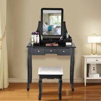 Vanity Set With Mirror & Cushioned Stool Dressing Table Vanity Makeup Table USA