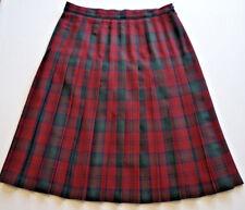 EDINBURGH Kilt Tartan Wool Skirt A Line Sz UK 18 - EU 46 W32-34 L28 Red Green