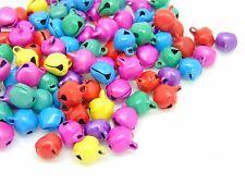 100 Pcs -  8mm Mixed Colour Christmas Bells Charm Pendant Jewellery Beads  K170
