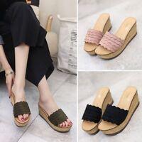 Women's Platform Wedge High Heel Sandals Open Toe Slipper Casual Shoes Slip On