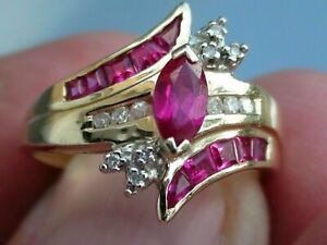 2Ct Marquise Cut Pink Sapphire Women's Engagement Ring 14K Yellow Gold Finish