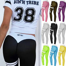 Mode Damen Leggings lang Hose Leggins Wäsche Sport Yoga Fitness Neu DE