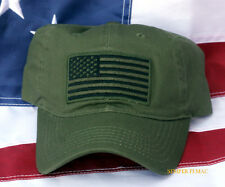 USA SCRIPT FLAG HAT EMBROIDERED OD GREEN CAP PIN UP STARS N STRIPES VETERAN GIFT