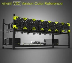 VEDDHA 8GPU Open Air Frame Aluminum Stackable Rig Mining Frame Ethereum/BTC/LTC