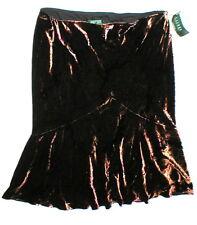 NWT $199 Womens New Ralph Lauren Silk Rayon Skirt 16 Copper Red Black Pull On