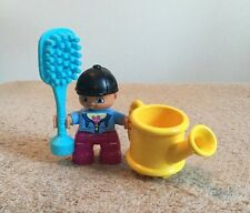 Lego Duplo Equestrian People Child Girl Figure Brush Water Can Lot Set