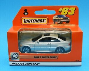 2000 Matchbox 1-75 series car No. 63: 1997 BMW 3-Series Coupe - silver & black