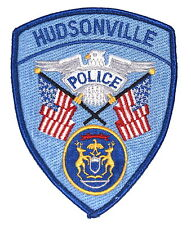 HUDSONVILLE MICHIGAN MI Police Sheriff Patch STATE SEAL US FLAG SILVER EAGLE ~