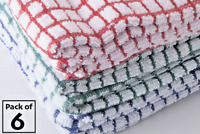 Pack of 6 Egyptian Cotton Check Terry Towelling Tea Towels Kitchen Dish Cloths
