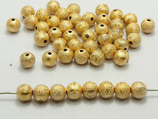"200 Gold Stardust Acrylic Round Beads 8mm(0.31"") Spacer Finding"