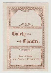 "ANTIQUE VICTORIAN PROGRAMME ""The Circus Girl"" Gaiety Theatre, Ellaline Terriss"