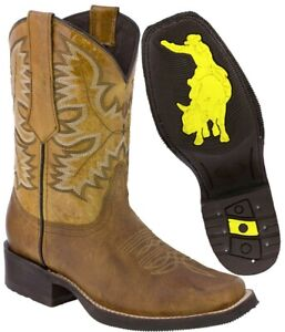 Mens Honey Brown Work Saddle Style Western Cowboy Boots Square All Real Leather