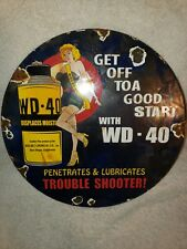 VINTAGE 1958 WD-40 LUBRICATING OIL PORCELAIN ENAMEL GAS PUMP ADVERTISING SIGN