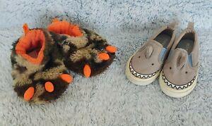 Infant Boy Toddler WonderNation Sz 4 Monster Slippers & Shark Casual Shoes Sz 5
