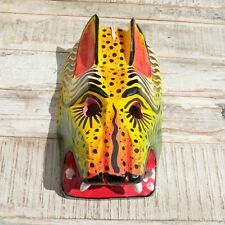 More details for mexican wooden folk art animal mask large - red eared cat