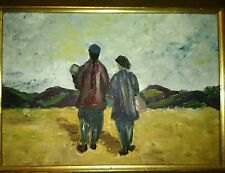 MID CENTURY ASIAN OIL PAINTING  MALE FEMALE on board portrait chinese japanese