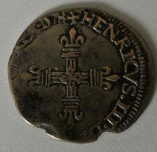 HENRI III 1/8 ECU 1578  ROCHELLE  RARE