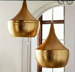 Gold Hammered Bell Pendant Lamp