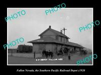 OLD LARGE HISTORIC PHOTO OF FALLON NEVADA, SOUTHERN PACIFIC RAILROAD DEPOT c1920