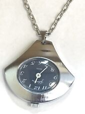 VINTAGE FASHIONTIME MECHANICAL WINDUP WATCH PENDANT NECKLACE W/CHAIN SWISS(FTS92