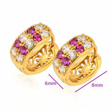 Women's yellow Gold Filled Red White crystal  Hoop Earring Vintage Jewelry