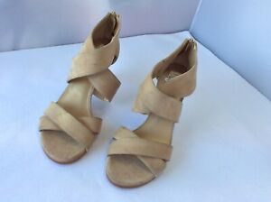 Stuart Weitzman Beige Suede Leather Cross Strapped Heels Shoes Size 6.5 Spain
