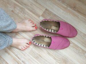 ♥ PINKE Toms Espadrills Größe 42 getragen Sommerschuh