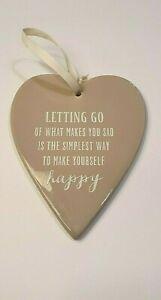 "NEW Beige Porcelain Heart Hanging Decoration ""Letting Go"""