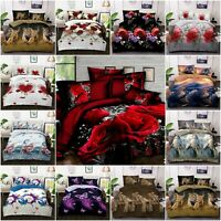 3D 4 Piece Printed Duvet Quilt Cover Complete Bedding Set Single Double King