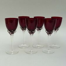 Set of 6 Vintage Port / Sherry Glasses ~ Ruby Red with Clear Twist Stem ~ 15cm