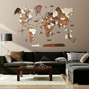 3D Wall Wooden World Map Art XL Home Interior Decoration Gift for Living Room