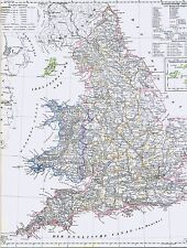 Echte 173 Jahre alte Landkarte Antique Map of ENGLAND and WALES 1844