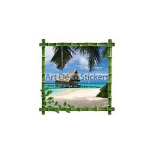 Sticker trompe l'oeil déco Bambou Maldives 60x60cm 4389DBD608A8