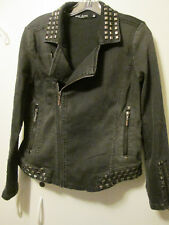 "$105 Max Jeans Black Studded ""Moto"" Motorcycle Style Stretch Denim Jacket M NWOT"