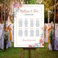 Personalised Wedding Seating Plan Table Plan - Floral & Rose Gold Effect