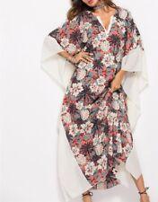 Plus Size Long Maxi Dress Kaftan Floral Print Cream/Grey/Coral Size 12-14-16-18