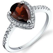 14K White Gold Garnet Open Halo Ring Pear Shape 1.50 Cts Size 7