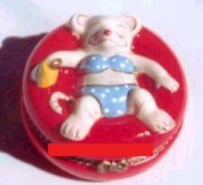TANNING MOUSE-Porcelain Hinged-Box-FLOATING AROUND in the POOL on INNERTUB