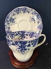 "TRANSLUCENT BONE CHINA ROYAL ALBERT TEA CUP & SAUCER ""DAINTY BLUE"" MINT COND."