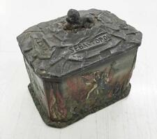 Rare Crimean War Tobacco Lead Box with Sebastopol battle painted decorations