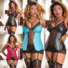Wet Look Vinyl PVC Chemise Suspenders Garter Plus size Lingerie 10-26 Chocker