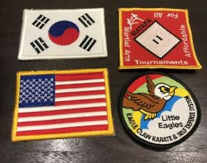 "Karate Korean Flag, US Flag,  Little Eagles, MATAFA Patches 3""- 3 1/4"""