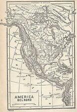 A2906 America del Nord - Carta geografica antica del 1910 - Old Map