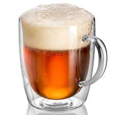 18 oz Set of 2 Clear Glass Mug Double Wall Coffee Mug Home,Beer Glasses Pub Bar