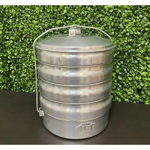 Vintage Metal Aluminum Stackable Canisters Food storage Camping
