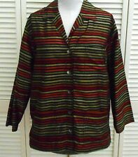 Chicos jacket size 1/6/8 Green Striped 100% SILK  Long Sleeve Womens
