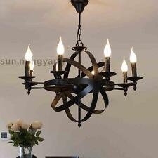 Vintage Chandelier Lamp 6 Arms Wrought Iron Birdcage Pendant Creative Cafe Light