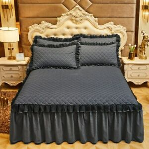 Luxury Lace Bed Skirt Thickened Bedspread 2/3 Pcs Cotton Queen Bedded Set 2/3Pcs